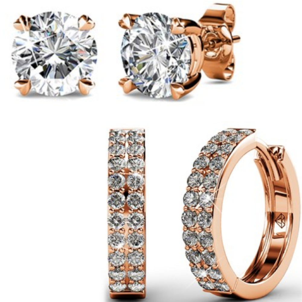 Earring Set w/Swarovski® Crystals - 2 Pairs - Rose Gold / Clear
