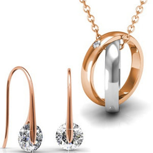 2pc Set w/Swarovski® Crystals - Rose Gold / White Gold / Clear