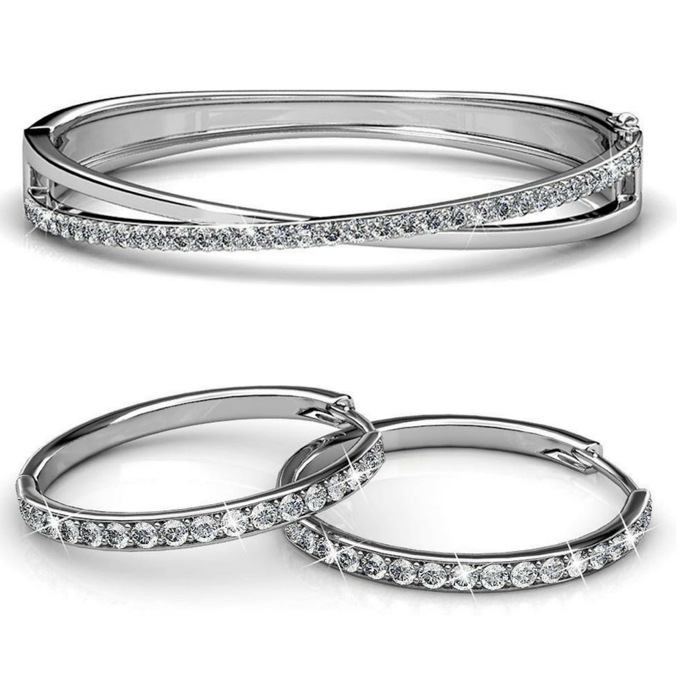 2pc Set w/Swarovski® Crystals - White Gold / Clear