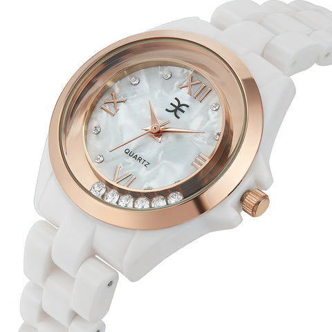 Palatial Watch Ft Swarovski Crystals -WHT