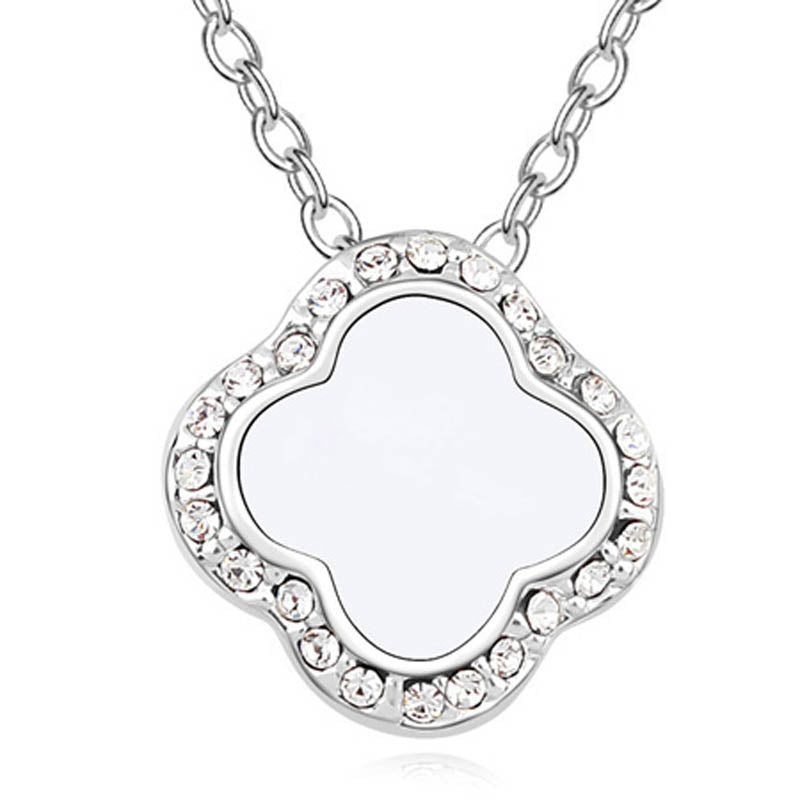 Clover Pendant Necklace Ft Swarovski Crystals -WHT