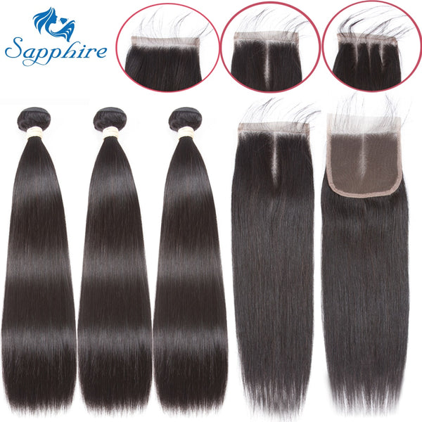 Sapphire Straight Bundles With Closure Brazilian Hair Weave Bundles With Closure Human Hair Bundles With Closure Hair Extension