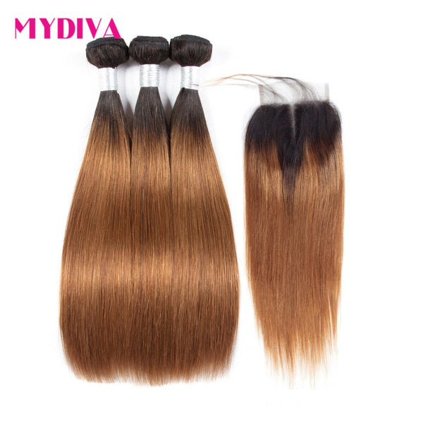 Mydiva Brazilian Hair Weave Bundles With Closure Straight Ombre Brown Human Hair Bundles With Closure Non Remy T1B/30  3 Pieces