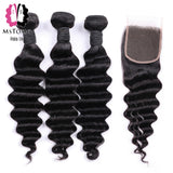 MsToxic Loose Deep Wave Bundles With Closure Brazilian Hair Weave Bundles With Closure Remy Human Hair Bundles With Closure