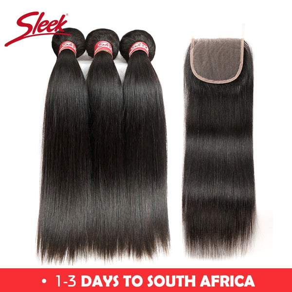 Sleek Brazilian Straight Hair Bundles With Closure 4 Pcs Natural Color Hair Weave 8-28 30 Remy Human Hair 3 Bundles With Closure