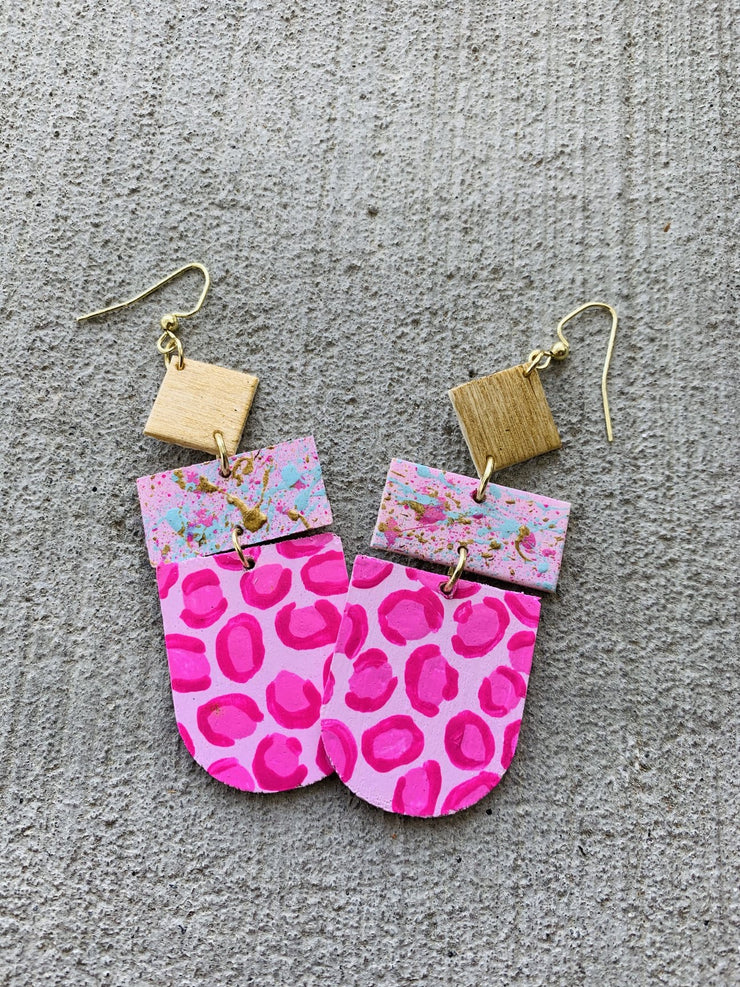 Pink Speckled Leopard Earrings