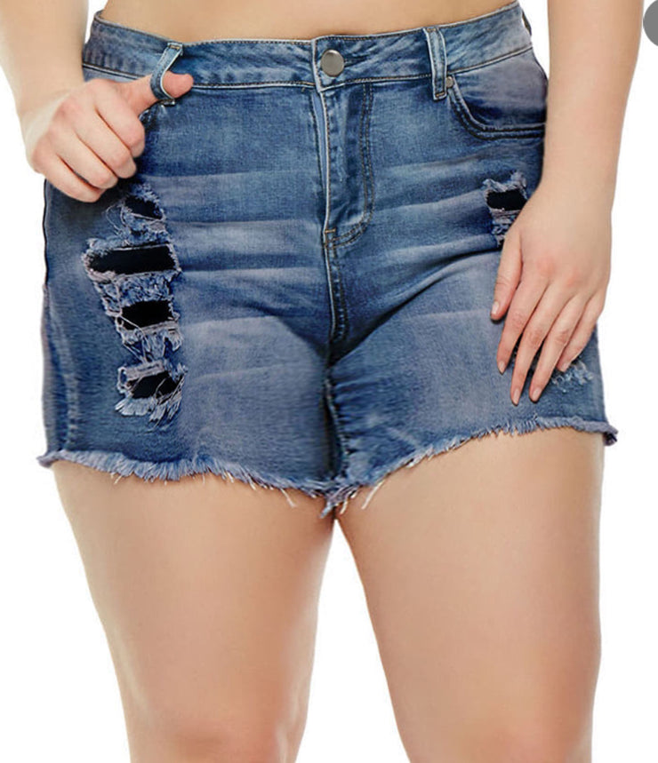 Dark Faux Ripped Shorts