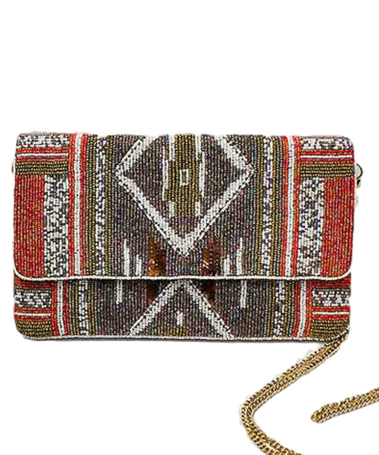 Tribal Patterned Beaded Clutch