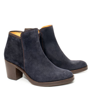 Van Velze & Smith Short Navy Suede Boot with Heel