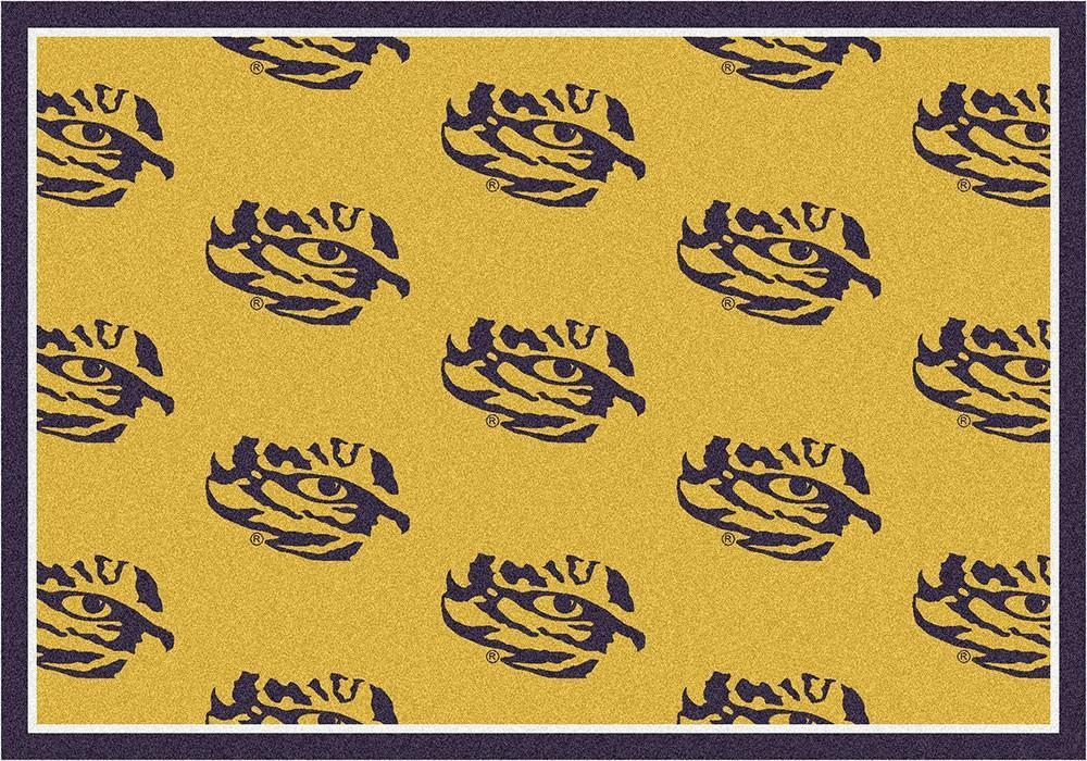 LSU Area Rug University Repeating Logo