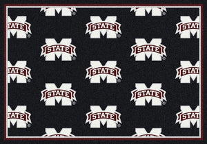 Mississippi State Area Rug University Repeating Logo