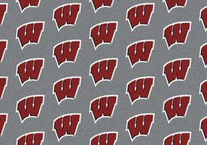 Wisconsin Area Rug University Repeating Logo