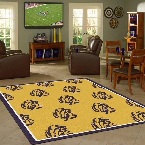 LSU Rug University Repeating Logo