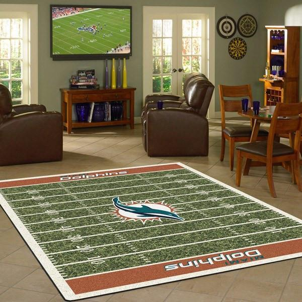 Miami Dolphins Football Field Rug