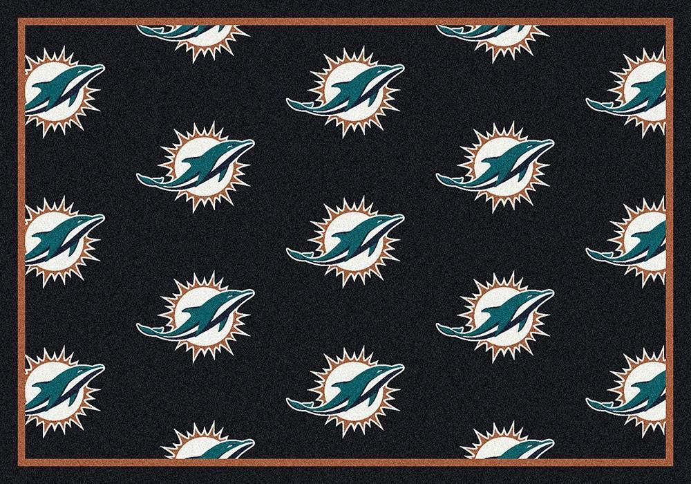 Miami Dolphins Rug Repeating Logo