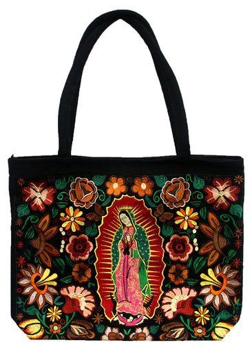 Guadalupe Virgin Embroidered Black Bag