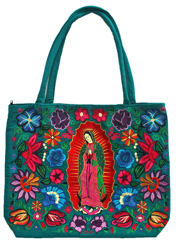 Guadalupe Virgin Embroidered Green Bag