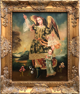 "The Guardian Angel framed oil painting 16""x20"""