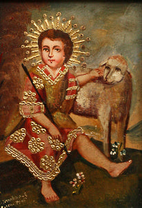 "Infant Jesus with Lamb oil painting 5""x7"""