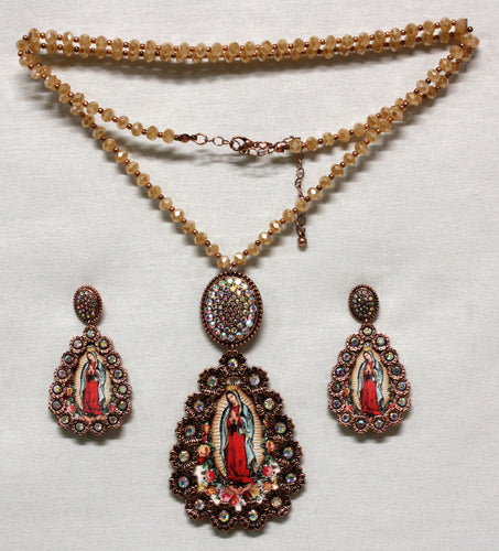 Guadalupe Virgin Set-Necklace and Earrings-Cooper