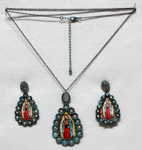Guadalupe Virgin Set-Necklace and Earrings