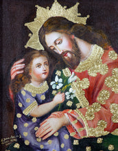"Load image into Gallery viewer, St Joseph and baby Jesus oil painting 8""x10"""
