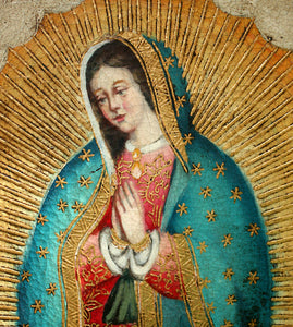 "Virgin of Guadalupe oil painting 8""x16"""