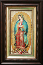"Load image into Gallery viewer, Virgin of Guadalupe oil painting 8""x16"""