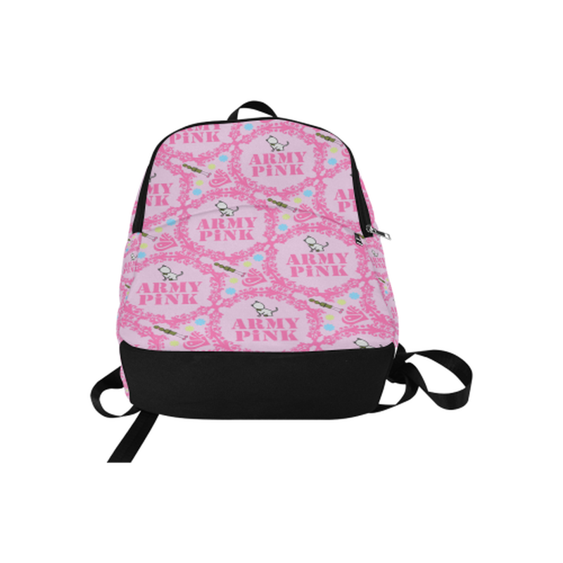 Pink wreaths on pink Fabric Backpack for  at ARMY PINK
