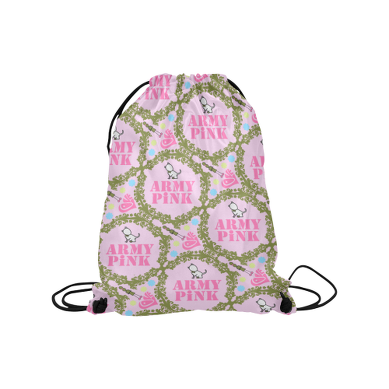 "Green wreaths on violet Medium Drawstring Bag Model 1604 (Twin Sides) 13.8""(W) * 18.1""(H) for  at ARMY PINK"
