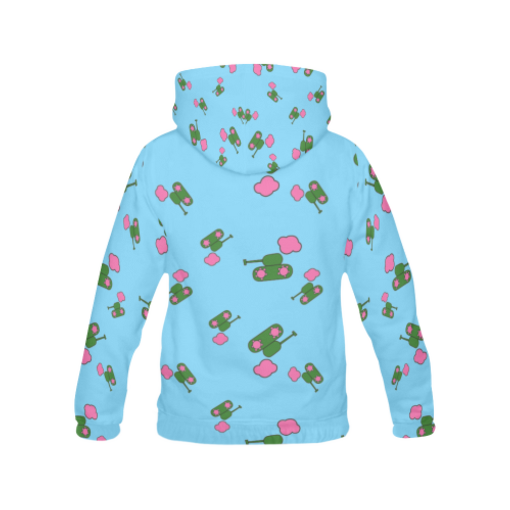 Tanks and Clouds Blue All Over Print Hoodie for 40.00 at ARMY PINK