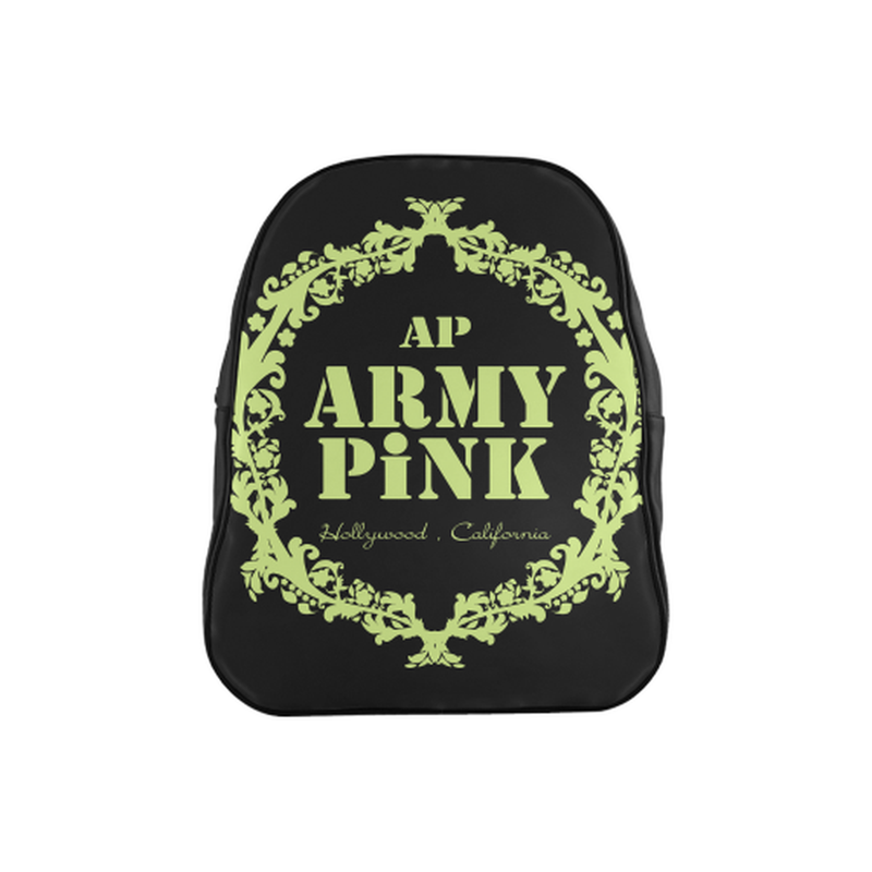 Green wreath on black School Backpack (Model 1601)(Medium) for  at ARMY PINK
