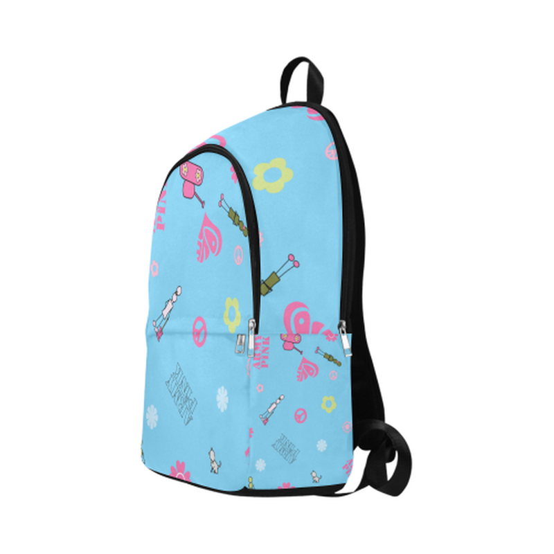 Blue logo print Fabric Backpack for  at ARMY PINK