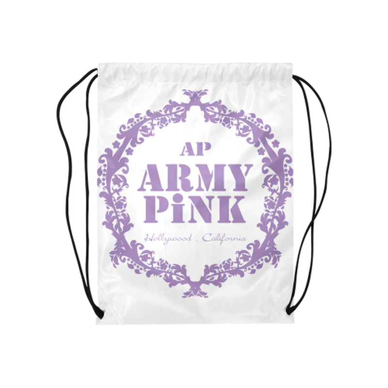 "Purple wreath on white Medium Drawstring Bag Model 1604 (Twin Sides) 13.8""(W) * 18.1""(H) ${product-type) ${shop-name)"