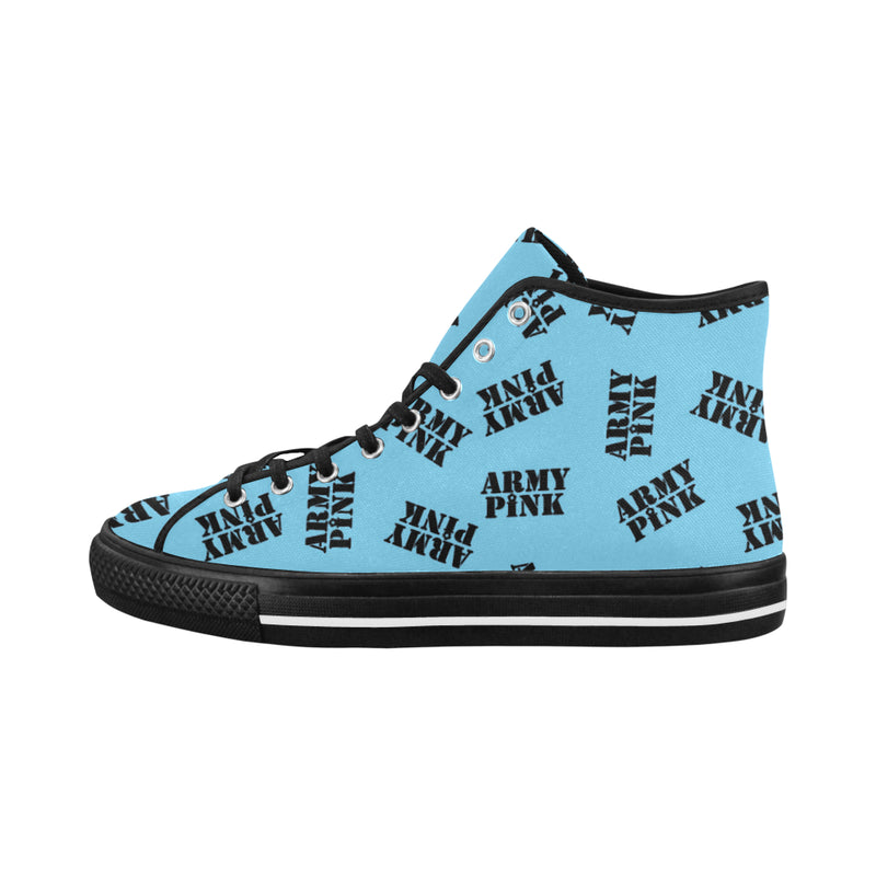 Blue Stamp Hi Top Canvas Shoes for 49.00 at ARMY PINK