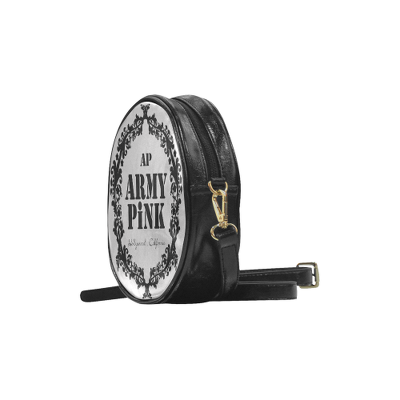 Black wreath on gray Round Sling Bag (Model 1647) for  at ARMY PINK