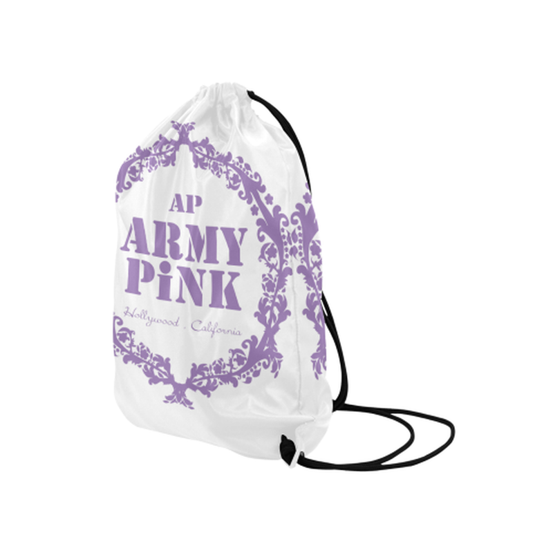 "Purple wreath on white Medium Drawstring Bag Model 1604 (Twin Sides) 13.8""(W) * 18.1""(H) for  at ARMY PINK"