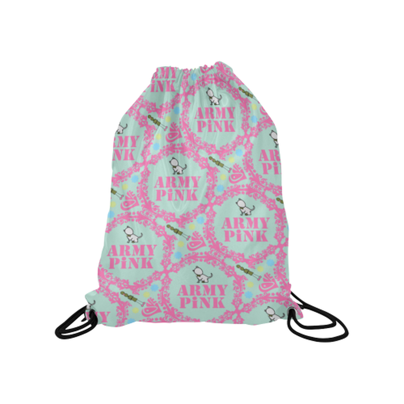 "Pink wreaths on mint Medium Drawstring Bag Model 1604 (Twin Sides) 13.8""(W) * 18.1""(H) for  at ARMY PINK"