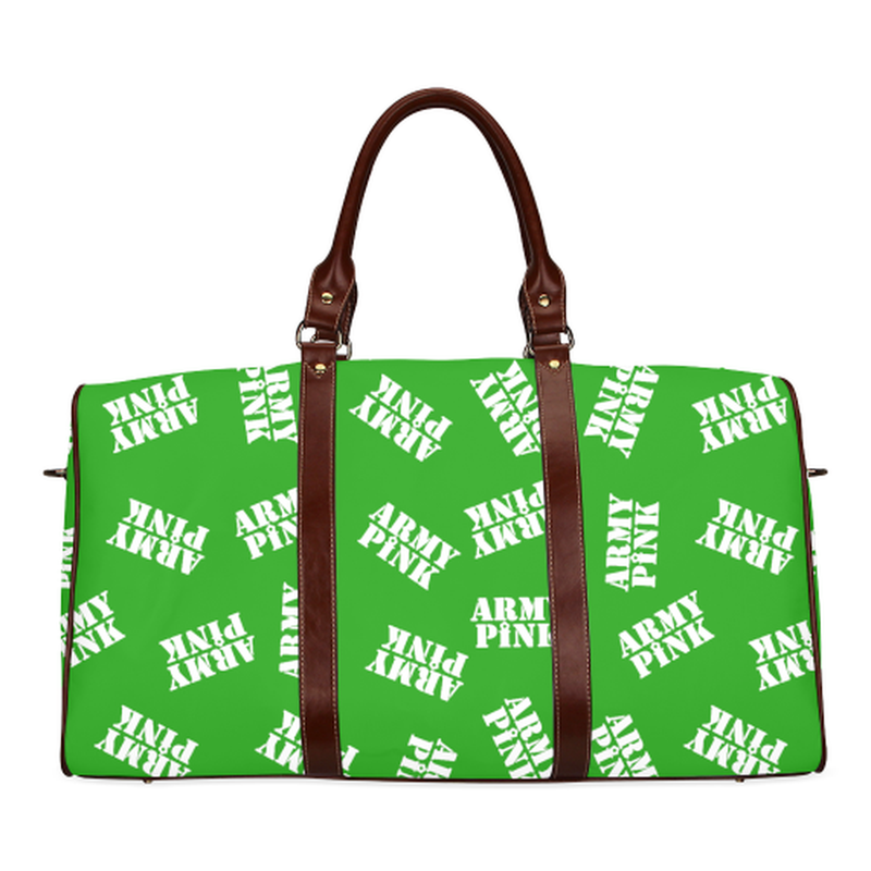 small travel bag in green with white army pink stamp Waterproof Travel Bag/Small (Model 1639) for  at ARMY PINK