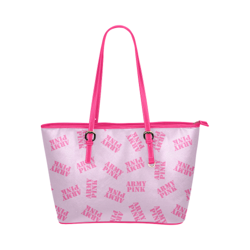Pink stamp leather Tote Bag ${product-type) ${shop-name)