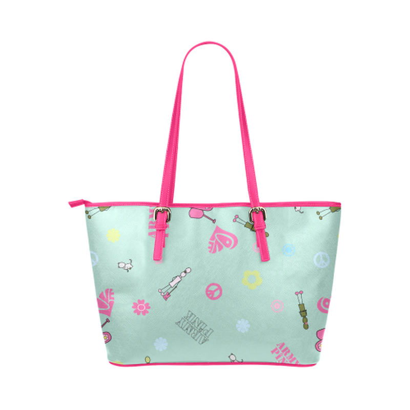 Logo print on mint Leather Tote Bag/Small (Model 1651) for  at ARMY PINK