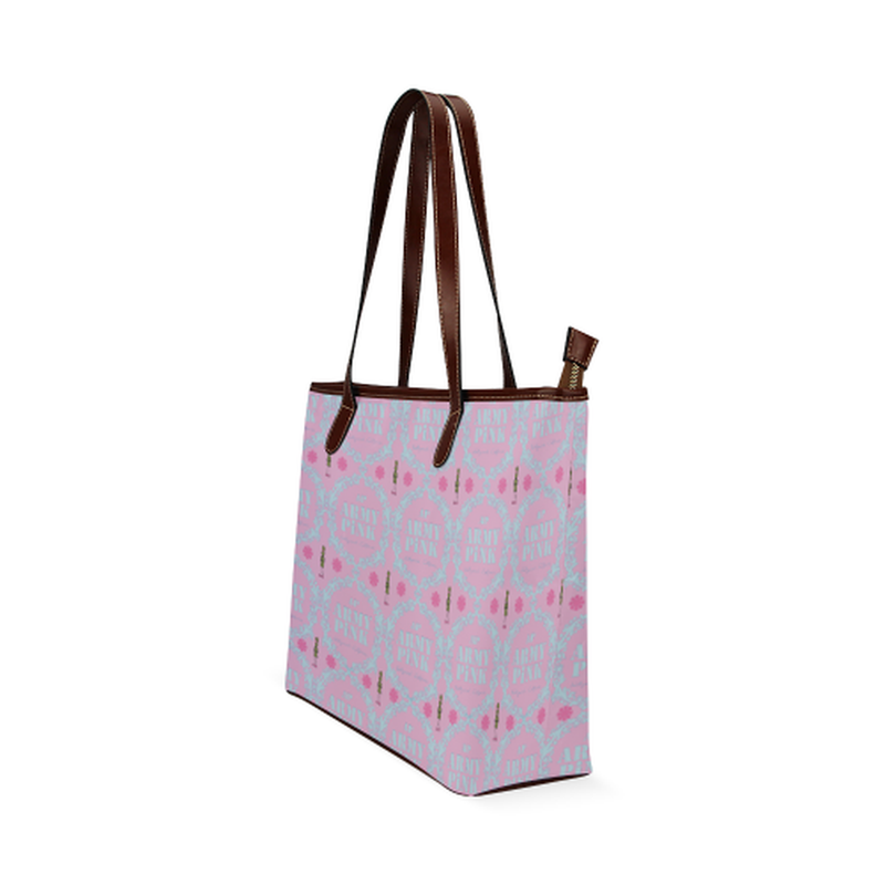 Gray wreath on pink Shoulder Tote Bag (Model 1646) for  at ARMY PINK