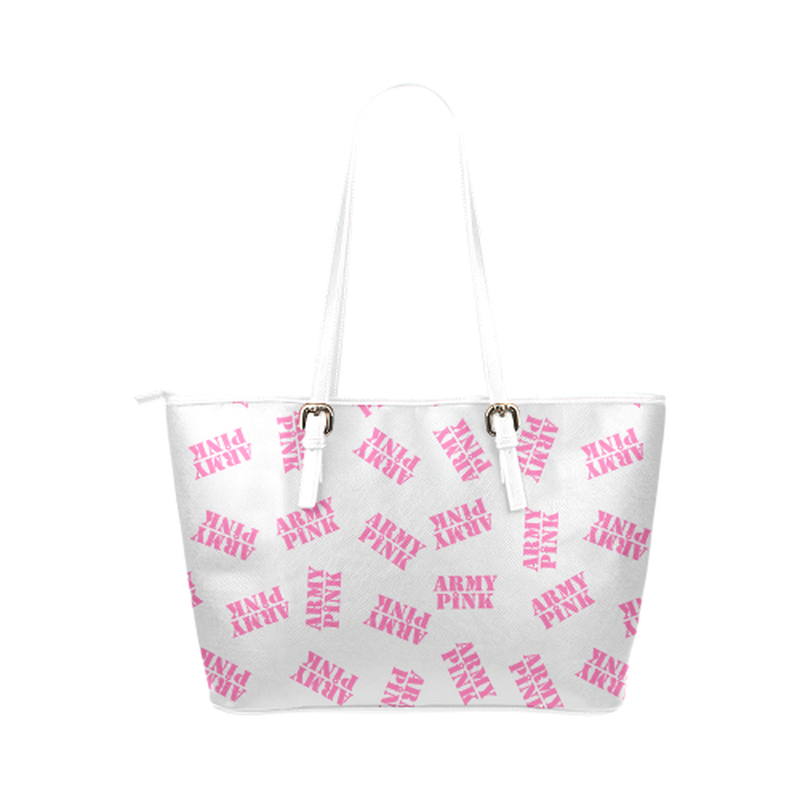 Pink stamps on white Leather Tote Bag/Small (Model 1651) for  at ARMY PINK