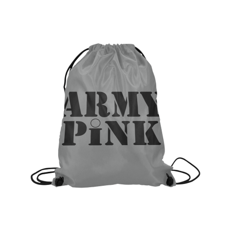 "drawstring name gray Medium Drawstring Bag Model 1604 (Twin Sides) 13.8""(W) * 18.1""(H) for  at ARMY PINK"