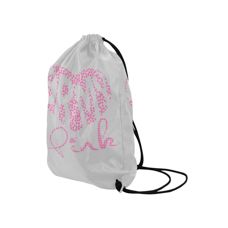 Dot heart  gray Drawstring Bag for  at ARMY PINK