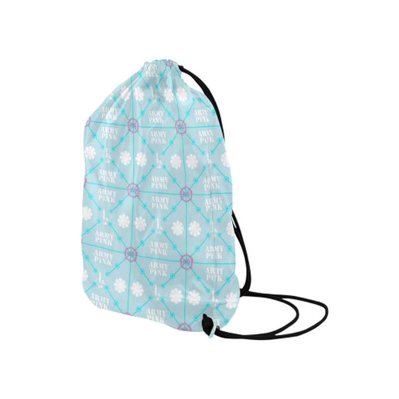 "Diamond logo pattern on blue Medium Drawstring Bag Model 1604 (Twin Sides) 13.8""(W) * 18.1""(H) for  at ARMY PINK"