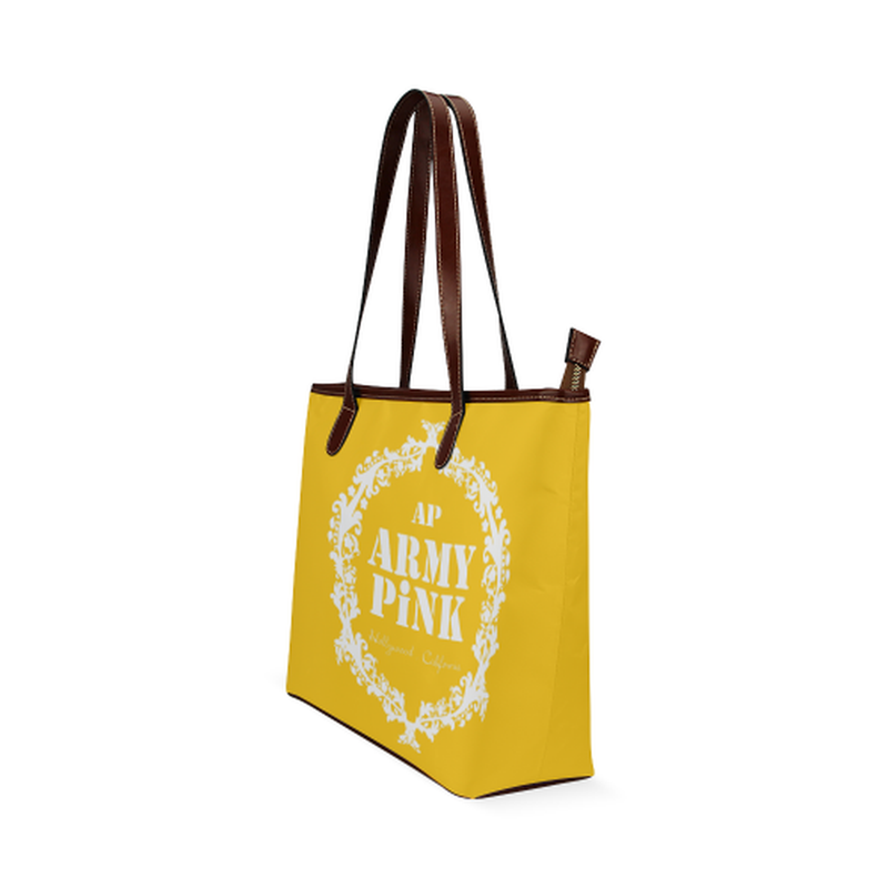 shoulder tote white wreath on yellow Shoulder Tote Bag (Model 1646) for  at ARMY PINK