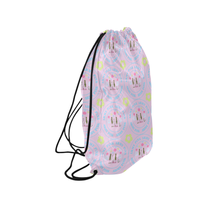 "Logo print on violet Medium Drawstring Bag Model 1604 (Twin Sides) 13.8""(W) * 18.1""(H) for  at ARMY PINK"
