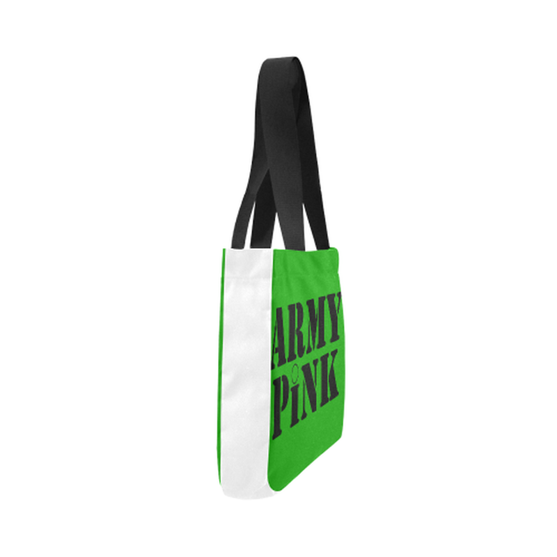 Green Army Pink Canvas Tote Bag for  at ARMY PINK