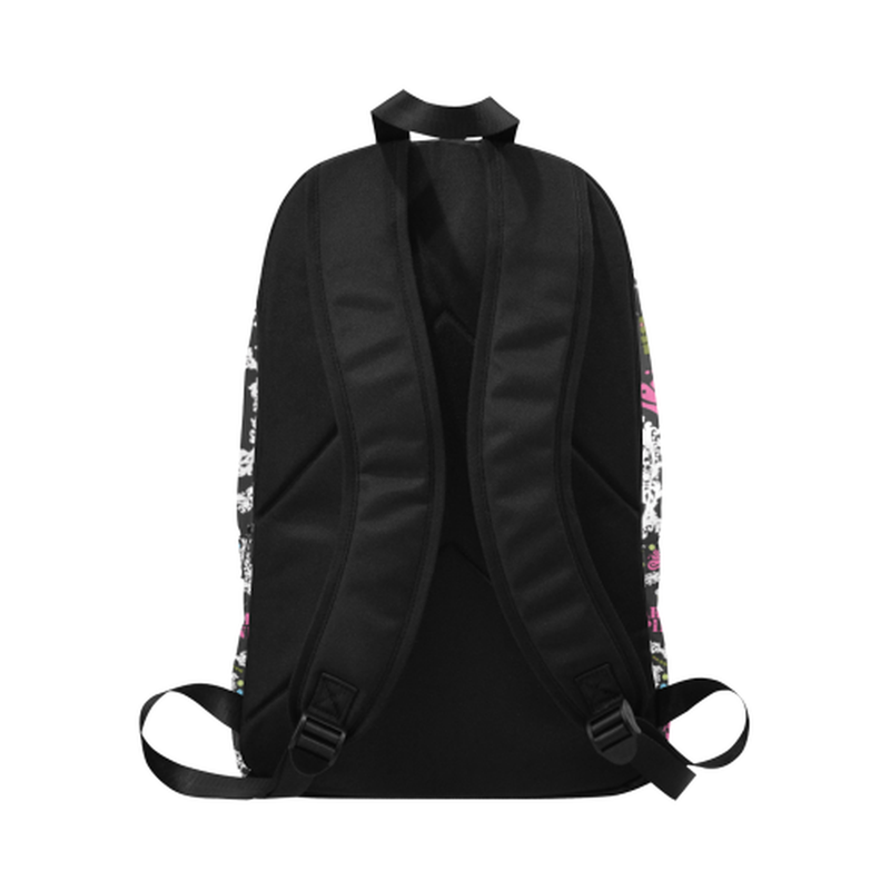 White wreath pattern on black Fabric Backpack for Adult (Model 1659) for  at ARMY PINK